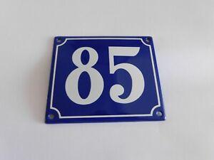 Old French Blue Enamel Porcelain Metal House Door Number Street Sign / Plate 85