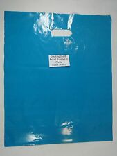 "100 Qty. 15"" x 18"" x 4"" Teal Glossy Low Density Merchandise Retail Shopping Bags"