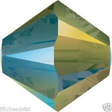 SWAROVSKI 5328 XILION Bicone Beads 4mm: Crystal IRIDESCENTE VERDE (50 Perline)
