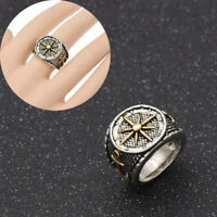Vintage Biker Punk Compass Ring Metal Captain Gold Silver Jewelry Ring Women Men