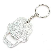 Sugar Candy Skull Bottle Opener Keychain Silver