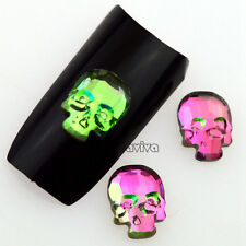 5PCS Glitter Green Red AB Acrylic Skull Heads Nail Art Gems Decal Tips