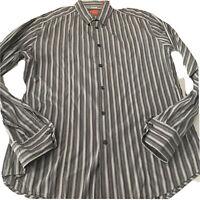 Boss Hugo Boss Orange Label Button Up Mens L  LShirt Gray Stripes Long Sleeve