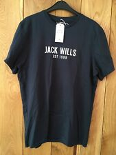 Mens Jack Wills T Shirt Navy Blue Hockering Logo Size Medium M