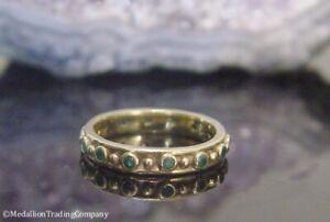 14k Yellow Gold Colombian Emerald Etruscan Eternity Band Byzantine Ring Sz 6.25