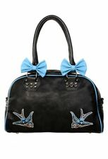 Blue Swallows Removable Bows Punk Emo Rockabilly Retro Handbag BANNED Apparel