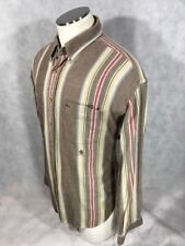 Vintage Tommy Hilger Button Up XL Long Sleeve Striped Shirt X-Large Brown/Yellow
