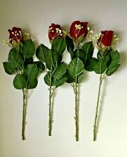 Artificial Faux Single Stem Red Rose w Baby's Breath Sprig Floral Decor Lot of 4