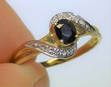 9CT 9 CARAT YELLOW  GOLD DIAMOND & SINGLE OVAL SAPPHIRE  ENGAGEMENT  RING SIZE P