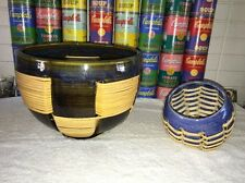 Pair of HTF woven ceramic mixed media bowls by Jeanne Wiley (listed MA artist)