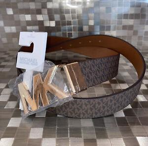 Michael Kors Belt Reversible Brown/Luggage Mini MK Logo Gold MK Buckle Large