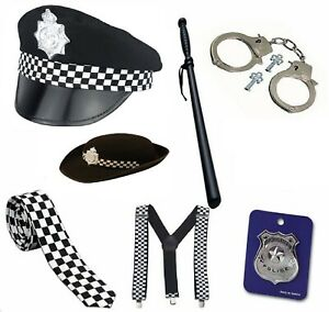 ADULTS POLICE MAN COSTUME ACCESSORY BRACES TIE BADGE HAT TRUNCHEON HANDCUFFS SET