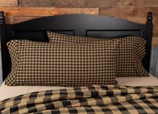 BLACK CHECK King Pillow Case Set/2 Black Khaki Primitive Rustic Farmhouse VHC