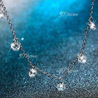 18k white gold gf SIMULATED DIAMOND necklace chain elegant