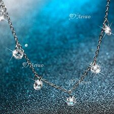 18k white gold gf SIMULATED DIAMOND necklace chain elegant