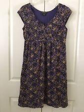EDDIE BAUER Dress Sz 12 Purple Pattern Cap Sleeve Crinkle Cotton Lined