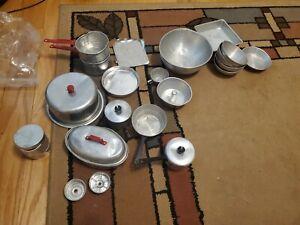 Vintage Toys - 1950's Aluminum Cooking Set-Roaster, Cake Carrier ,Bowls -20+