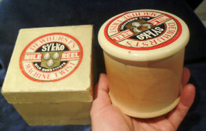 HUGE DEWHURSTS SYLCO 1 MILE WOODEN COTTON REEL 1959  SKIPTON SEWING ADVERTISING