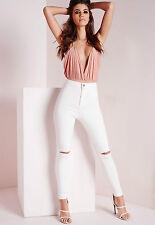 Womens Ladies WHITE BLACK Slim Fit Skinny Denim Rip Knee Jeans Size 6 -16 Plus