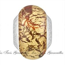Lovelinks Bead Sterling Silver, Pink Gold Foil Murano Glass Charm Jewelry TM178