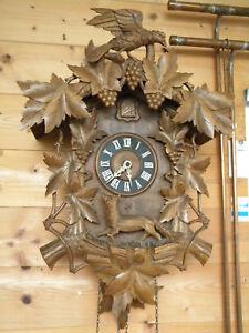 1930 ant. 63cm KUCKUCKSUHR CZECHOSLOWAKIA CUCKOO CLOCK Jagd Jäger hunter Kuckuck