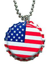 PATRIOTIC AMERICAN FLAG BOTTLE CAP NECKLACE (CAP028a)