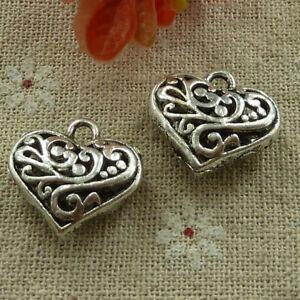 Free Ship 40 pcs tibetan silver hollow out  heart charms 20x19mm L-2705