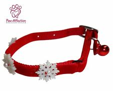 Get your pet in the Holiday spirit with this cute red collar w/ snowflake & bell