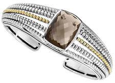 NEW $1495 Lagos Silver 18K Gold Cuff Prism Smokey Quartz Caviar Hinge Open