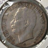 1909-G GERMANY 3 MARK DEUTSCHES REICH VON BADEN SILVER COIN