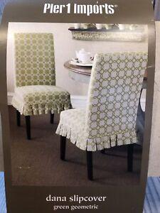Pier 1 Imports Dana Slipcover Dining Chair GREEN GEOMETRIC 18.5 x 20 x 28 inch
