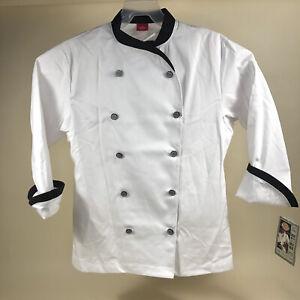 Dickies Chef Coat Unisex Medium 10 Button Contrast Cuff White Black Jacket