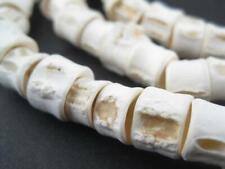 Fish Bone Beads 8-12mm West Africa African White Unusual 38 Inch Strand Handmade