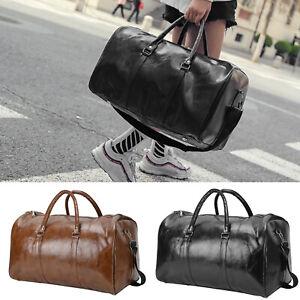 Mens PU Leather Duffle Weekend Bag Gym Sports Travel Luggage Handbag Holdall
