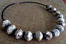 Necklace pearls raku  white silver collier prles  galets ceramique raku argenté