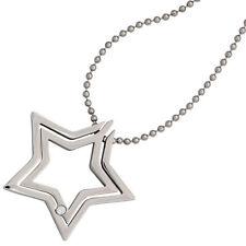 Collier Kette mit Anhänger Stern Edelstahl 1 Kristall 48 cm Halskette 38025 NEU
