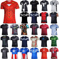 Marvel Superhero Men Short Sleeve T-Shirts Sport Tops Gym Compression Base Layer