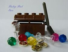 NEW Lego Minifig Brown Treasure Chest Gold Coins Jewels Gems Crystal Goblets
