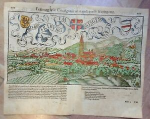 FRIBOURG GERMANY 1552 SEBASTIAN MUNSTER COSMOGRAPHY ANTIQUE ENGRAVED VIEW
