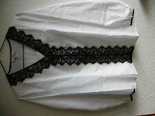 Bluse von Peter Hahn  Gr 40   weiß mit schwarzer Spitze  langarm  neu!  NP 89,95