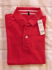Maglia donna stile polo Benetton, colore rosso, taglia S con logo Benetton