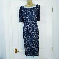JACQUES VERT Navy & Misty Blue Lace Dress Mother of The Bride Wedding Size UK 14