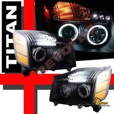 Dual CCFL Halo LED Black Projector Headlights For 04-07 Nissan Titan Armada