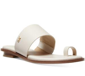 NIB Michael Kors August Slide Flat Toe Ring LT Cream Sandals Leather