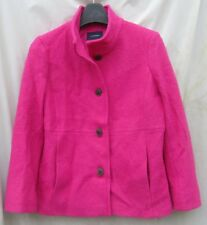 WOMENS LANDS END Bright Pink Peacoat Linied Petite 12 12P Wool Bld Jacket Coat