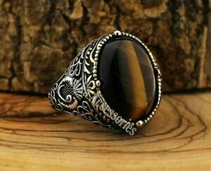 Handmade pure 925 SILVER Tiger eye stone rings for Men all sizes wedding RRP£50