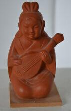 Vintage Asian Oriental Beauty Clay Terracotta On Wood Base Figure