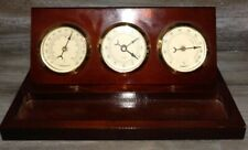 Vintage Wood Desktop Nautical Clock Time Humidity And Tempature Great Condition