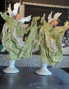 "Lenox Collectible Angel Figurines 20"" tall Millennium statue vintage PAIR"