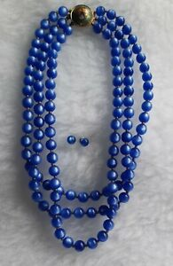 Vintage Blue Multistrand Lucite Necklace With Cloisonne Clasp & Stud Earrings